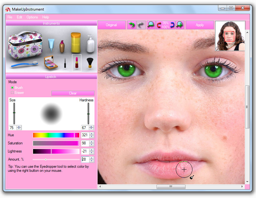 MakeUpInstrument is an easy portrait software